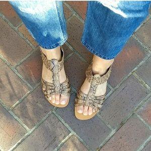 Miz Mooz Gladiator Snake Print Sandals